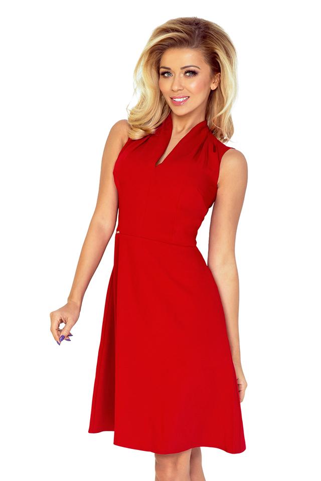 Červené šaty se stojáčkem ve výstřihu 133-3 - XXL