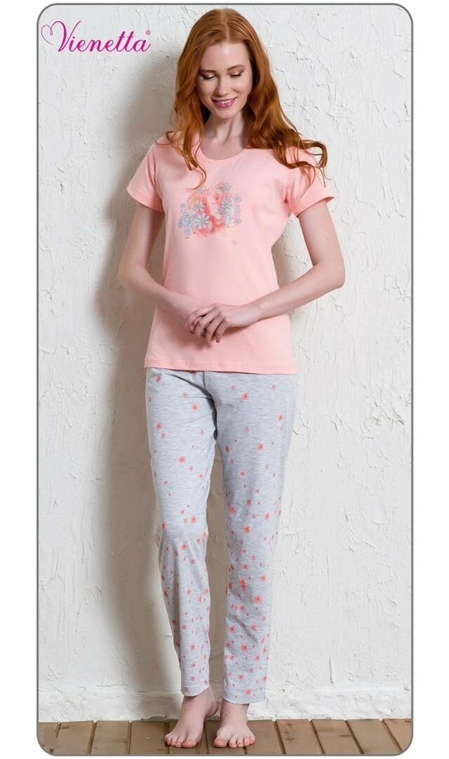 Dámské pyžamo s krátkým rukávem Slon a květy - světle šedá M
