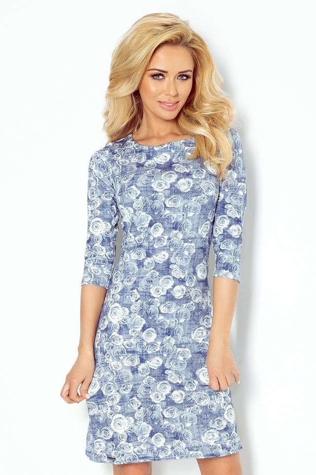 Květované šaty s 3 4 rukávy 88-7 - L f096b8e1a46