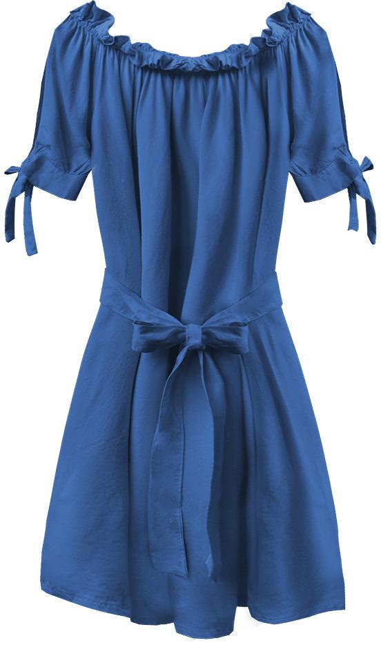 Dámská tunika ve španělském stylu v chrpové barvě s páskem (279ART) - jedna velikost - modrý