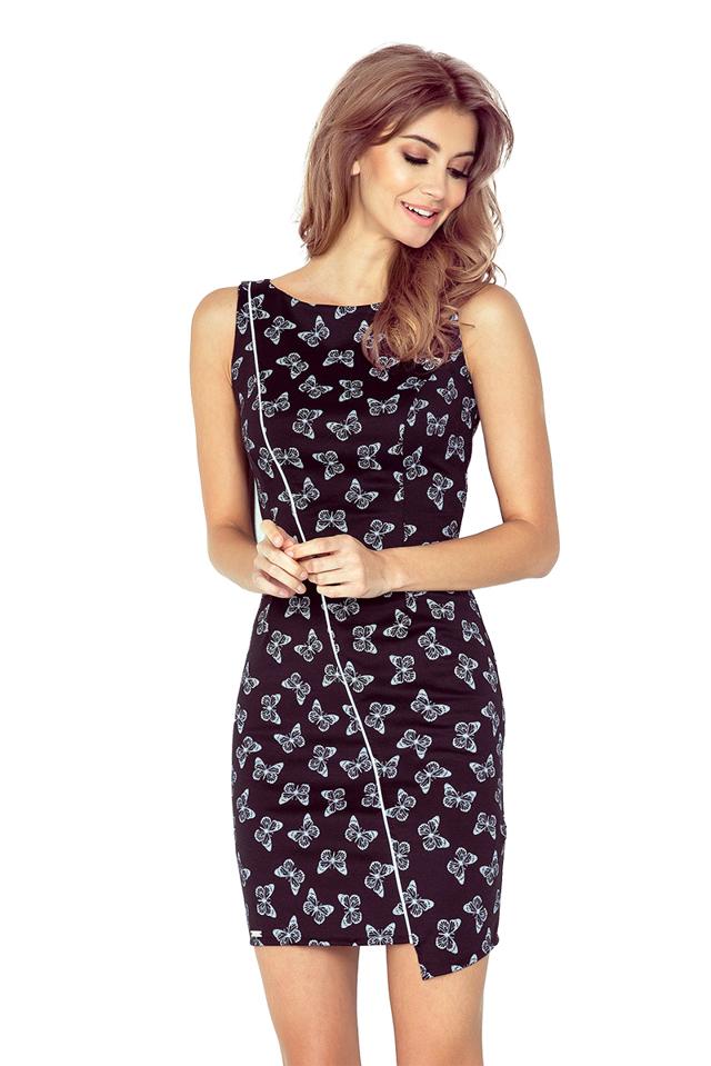 Černé asymetrické šaty s bílými motýlky MM 004-6