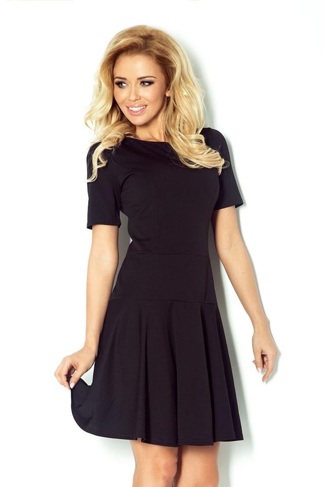 Černé tenisové šaty s krátkými rukávy 76-1 - S