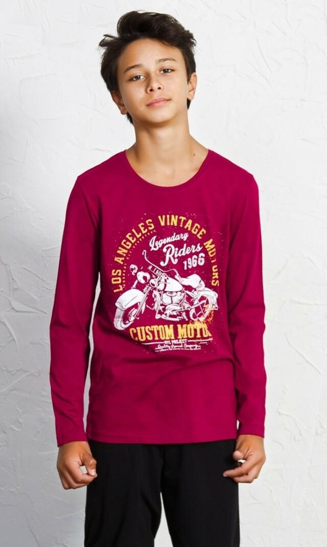 Dětské pyžamo dlouhé Riders - vínová 11 - 12