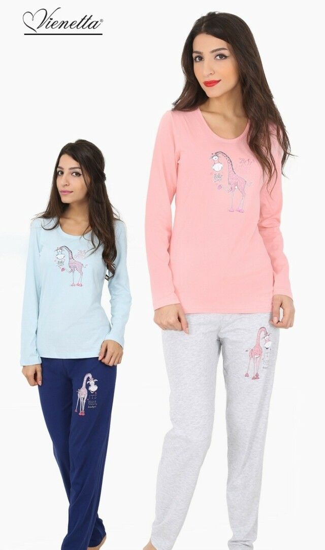 Dámské pyžamo dlouhé Žirafa Hello - modrá M