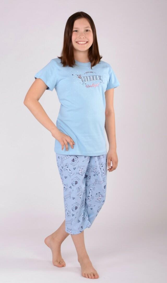 Dětské pyžamo kapri Jezevčík - šedá 7 - 8
