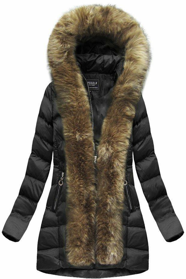 Černá dámská prošívaná bunda (W756BIG) - 48 - černá