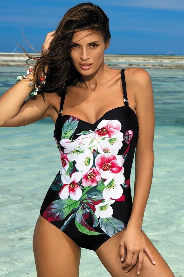 Dámské jednodílné plavky Rebecca M-422 - Marko - M - černá s květy