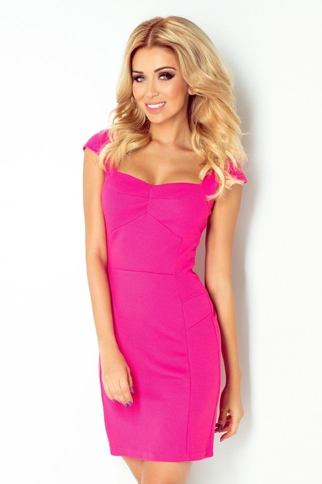 Malinově růžové šaty s pěkným výstřihem 118-3 - M