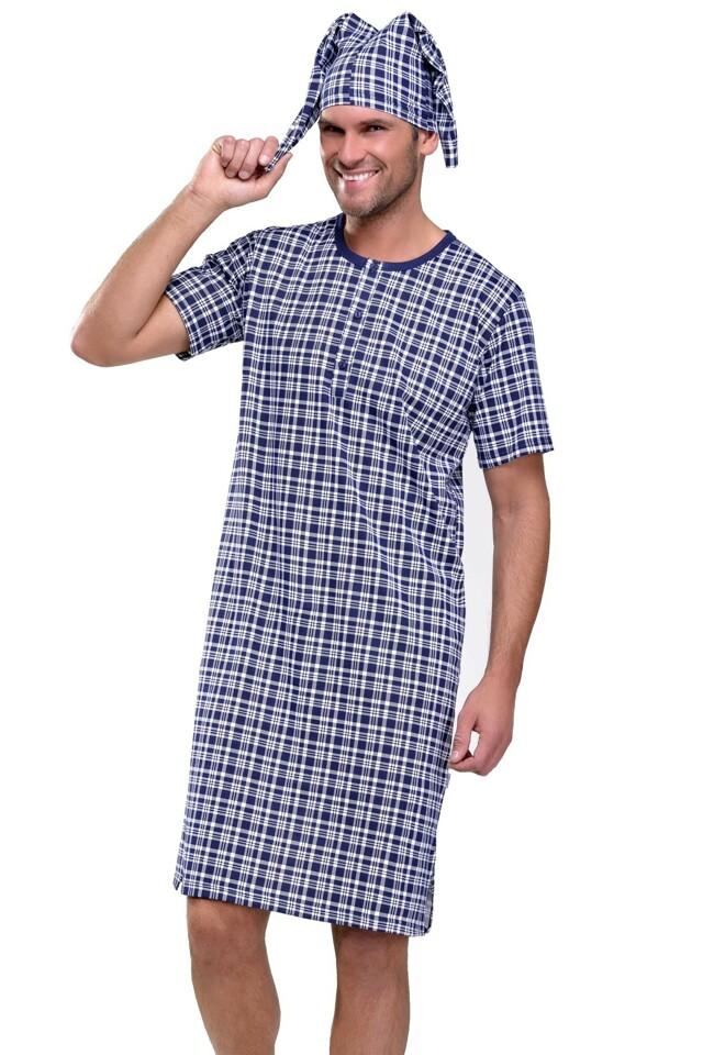 Pánská noční košile Filip káro temně modré - XL