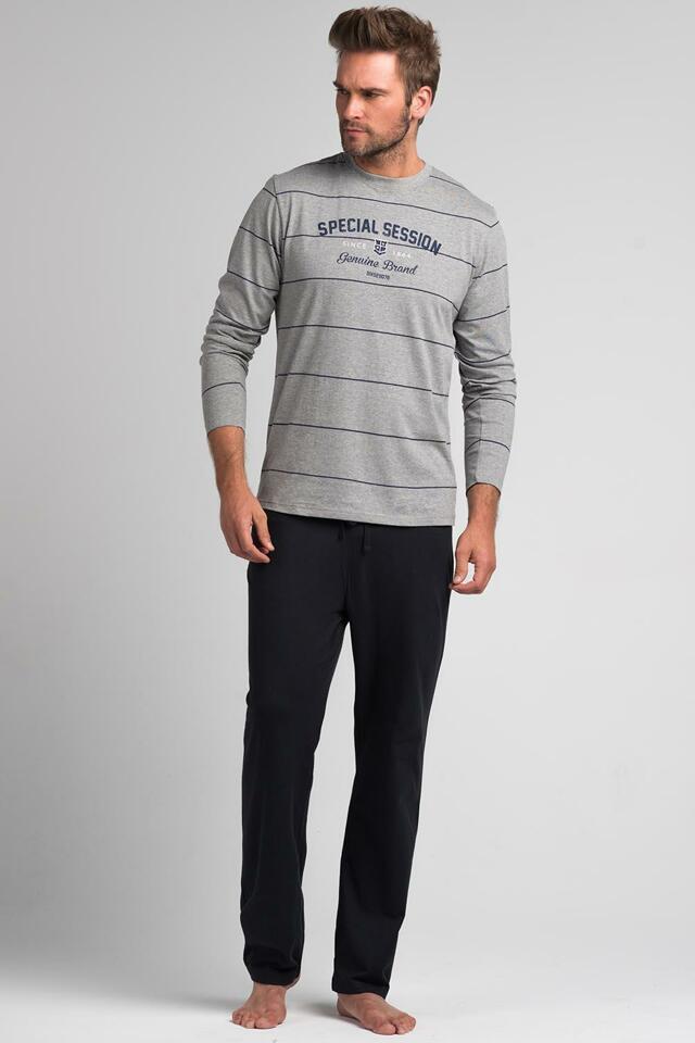 Pánské pyžamo Rossli SAM-PY 066 - XL - šedá/tm.šedá