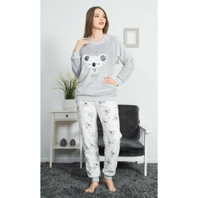 Dámské pyžamo dlouhé Koala - Vienetta - S - šedá