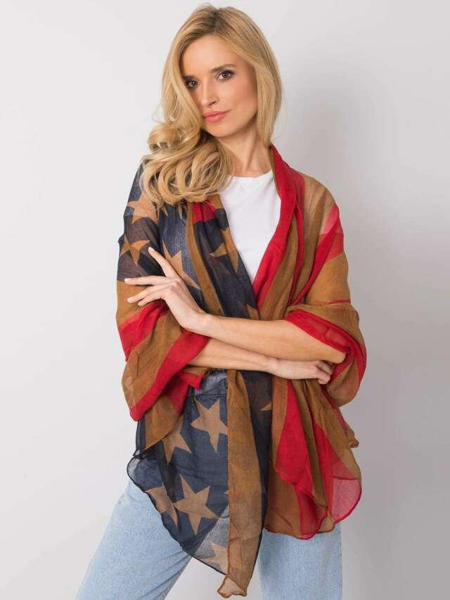 Červený a hnědý dámský šátek - jedna velikost