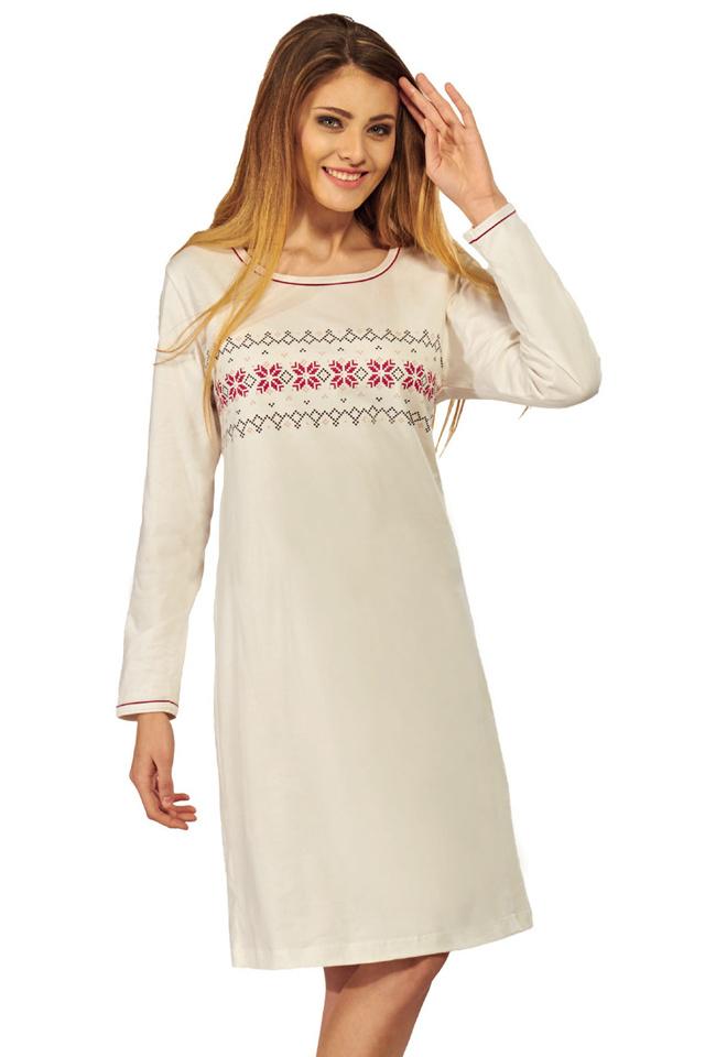 Bavlněná noční košile Laura ecru - XL