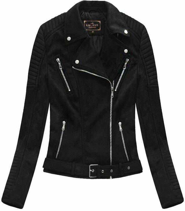 Černá dámská bunda ramoneska se sponou (6008) - S (36) - černá