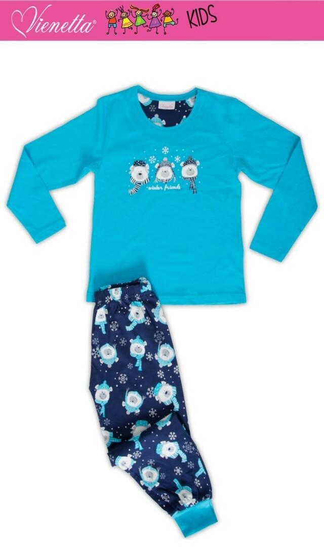 Dětské pyžamo dlouhé Méďové se šálou - tyrkysová 7 - 8