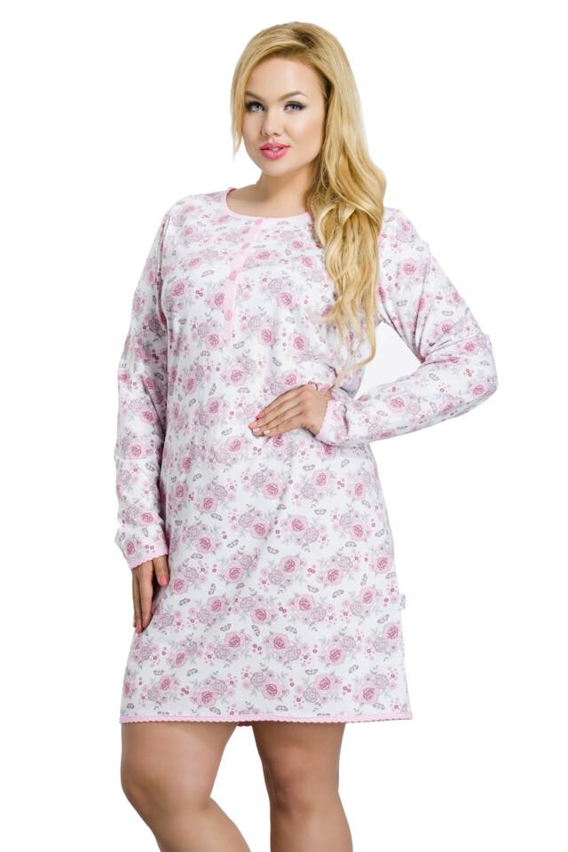Dlouhá dámská noční košile Malina růžová nadměrná velikost - XXL