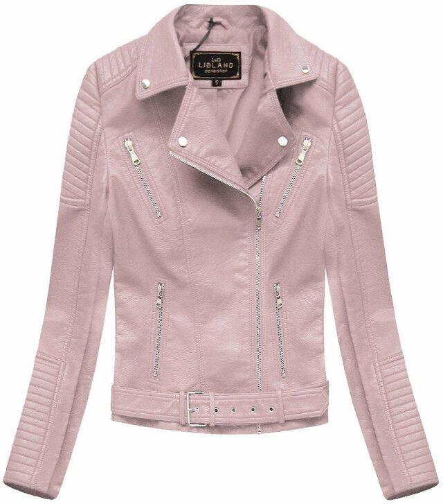 Růžová dámská bunda ramoneska se sponou (5378) - S (36) - růžová