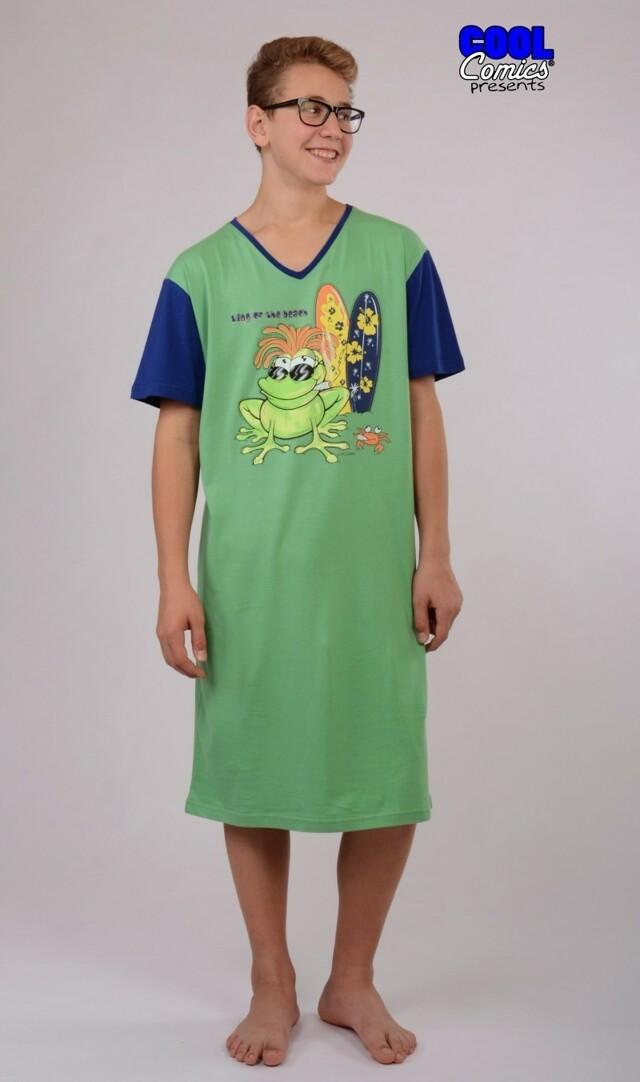 Pánská noční košile s krátkým rukávem Žába King - zelená L