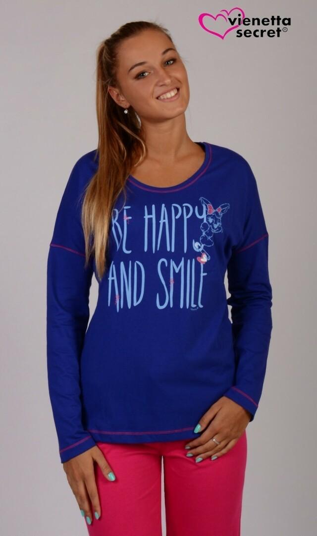Dámské pyžamo dlouhé Happy and smile - fuchsiová XL