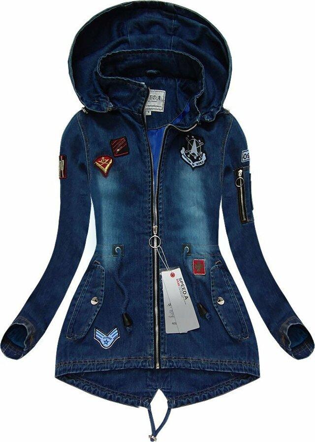 Tmavě modrá dámská džínová bunda (W523) - XXL (44) - tmavěmodrá