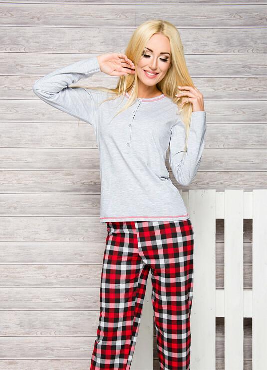 Dámské pyžamo Taro Nati 2112 dl/r S-XL N - XL - korálová/káry
