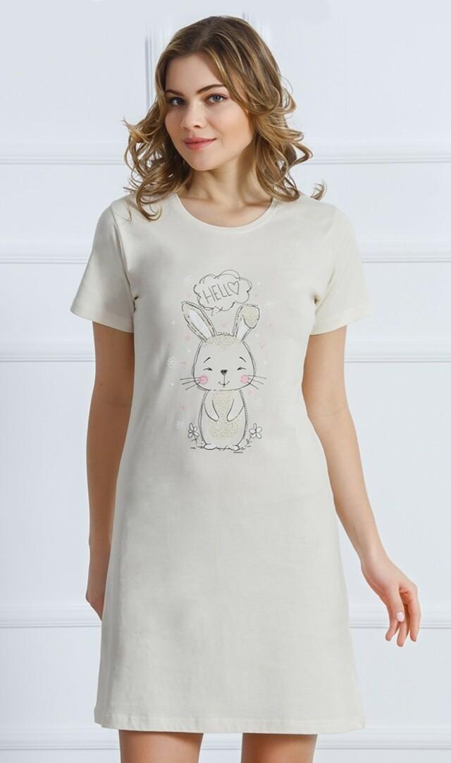 Dámská noční košile s krátkým rukávem Králík - šedá XL