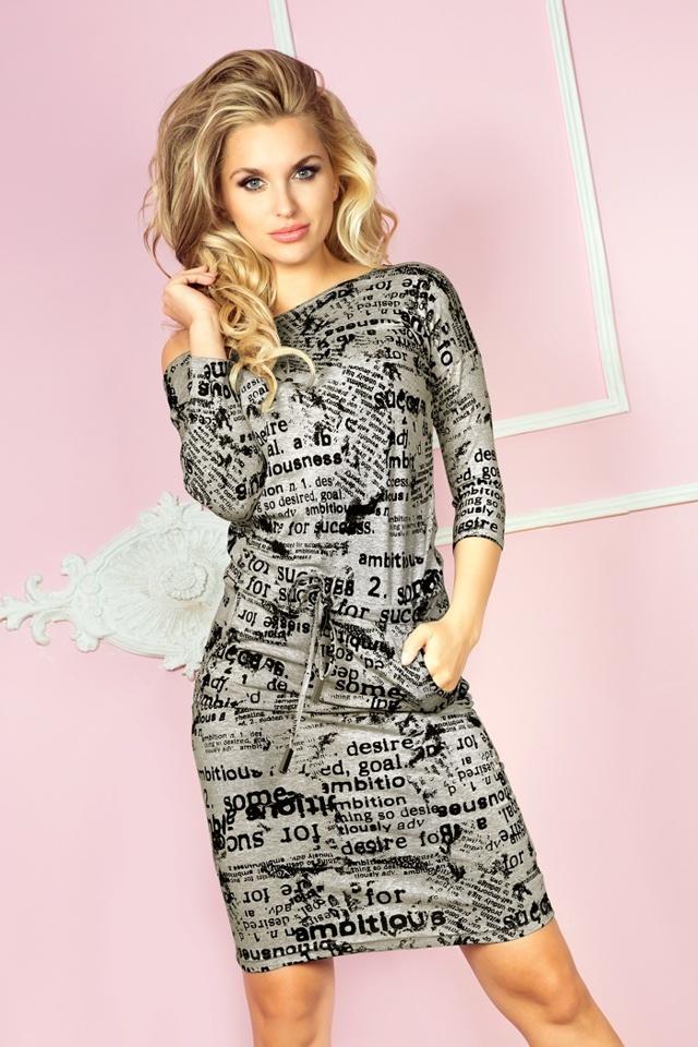 Středně šedé šaty s novinovými nápisy 13-28