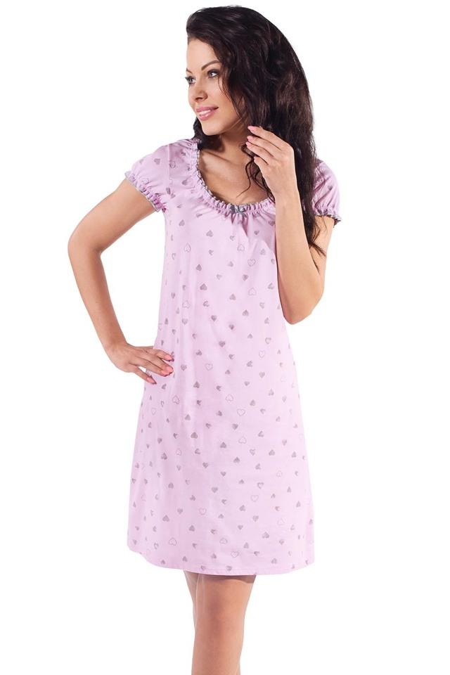 Těhotenská noční košile Italian Fashion Aleta kr.r. - L - růžová