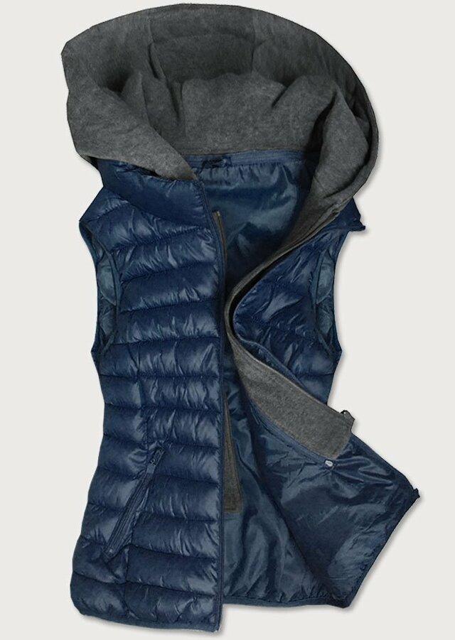 Tmavě modrá dámská vesta s teplákovu kapucí (B2704) - 50 - tmavěmodrá