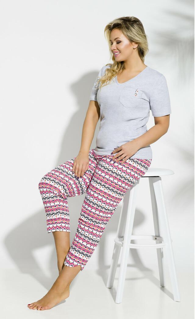 Dámské pyžamo Taro Etna 2192 kr/r 2XL-3XL '18 - XXL - růžová žíhaná