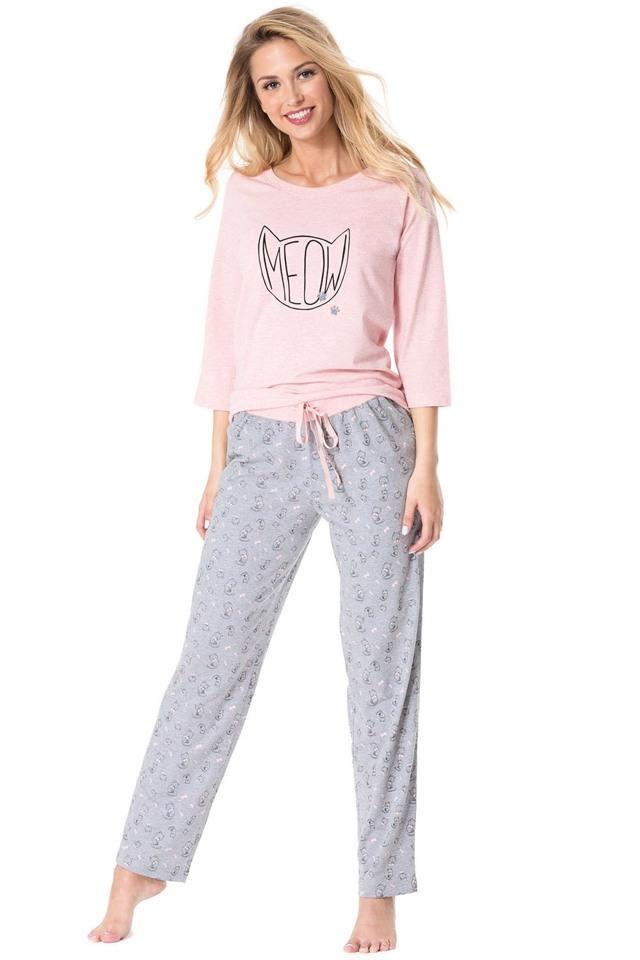 Dámské pyžamo Rossli SAL-PY 1067 - L - korálová žíhaná