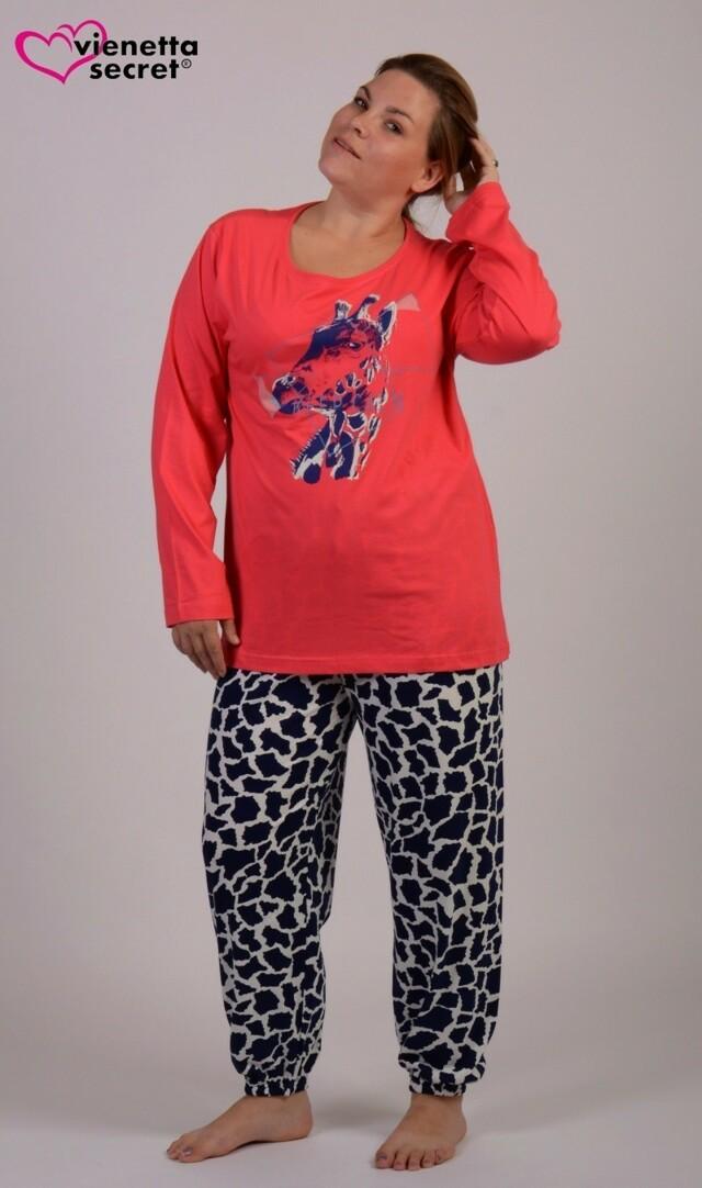 Dámské pyžamo dlouhé Safari - korálová 1XL