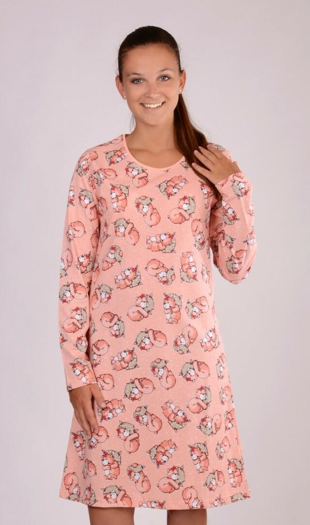 Dámská noční košile s dlouhým rukávem Méďa Ospalec - meruňková S