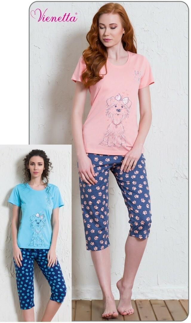 Dámské pyžamo kapri Pes s mašlí