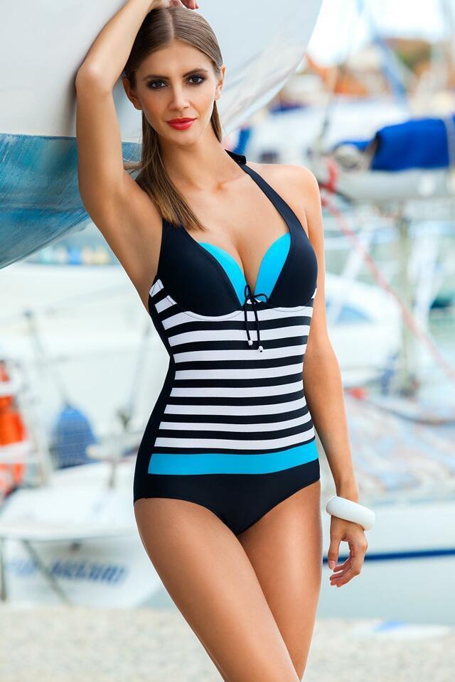 Jednodílné plavky Ewlon Pamela I - 38 - černo-modrá