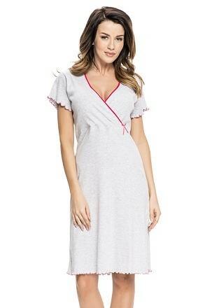 Bavlněná těhotenská a kojící noční košile Ruby šedá - L