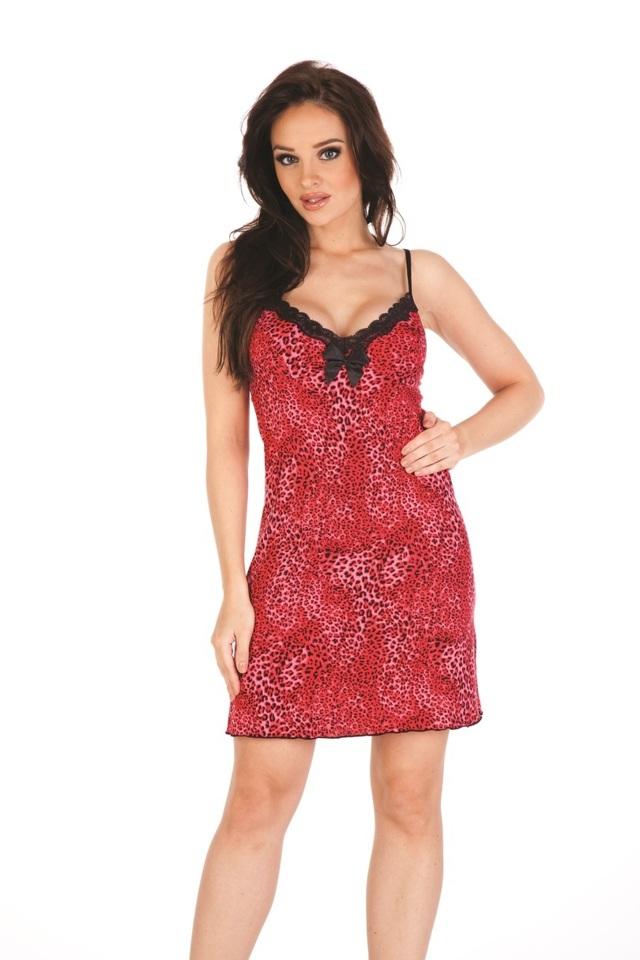 Dámská košilka na ramínkách JASMIN 877 - červená leopardí - S