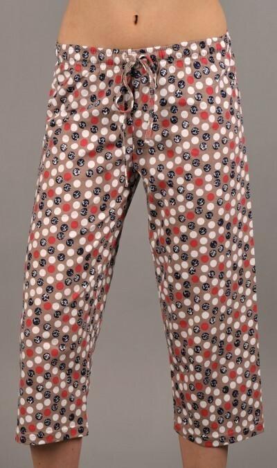 Dámské pyžamové kapri kalhoty Monika - mocca S