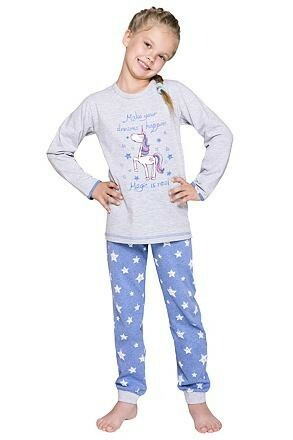 Dívčí pyžamo Elza šedé dlouhé