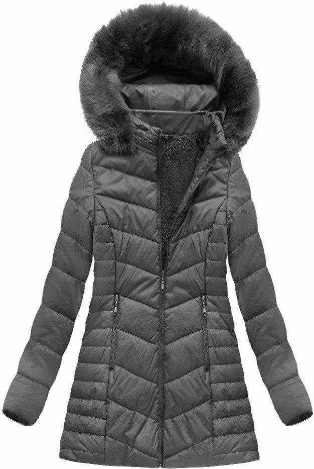 Šedá dámská zimní bunda s kapucí (B1021-30) - 46 - šedá a8952a07ac