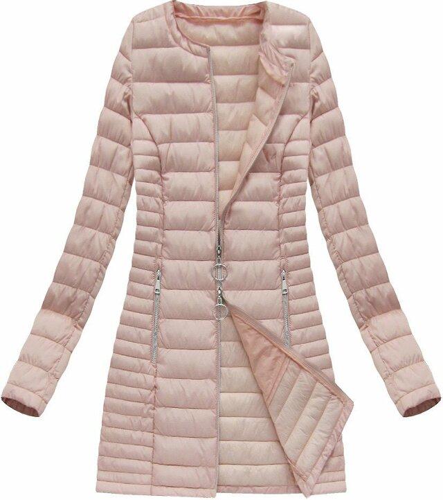 Dlouhá prošívaná bunda v lososové barvě (21819) - 46 - růžová