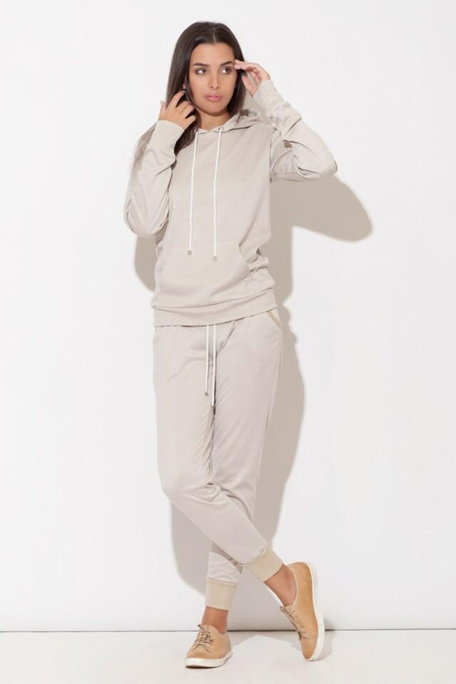Dámské fitness kalhoty K095 beige - L - béžová
