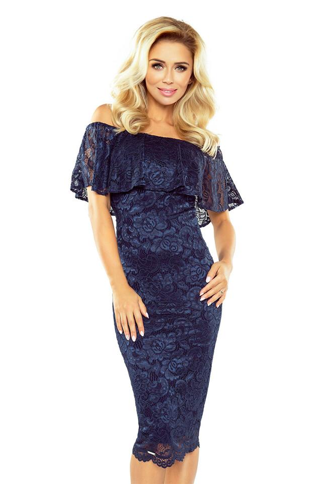 Tmavě modré krajkové šaty - XL