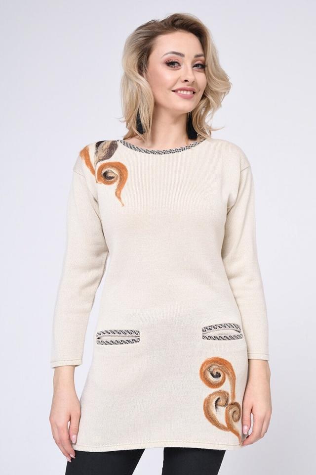 Dámský dlouhý svetr 1436R - Vitesi - M - béžová