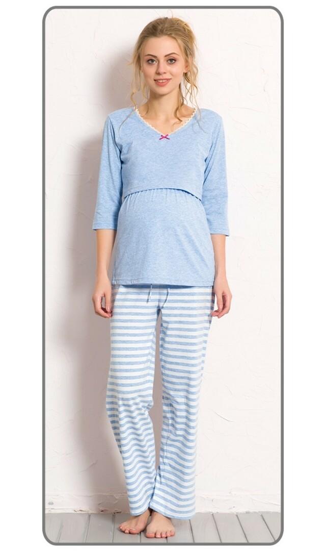 Dámské pyžamo dlouhé mateřské Lenka - světle modrá XL