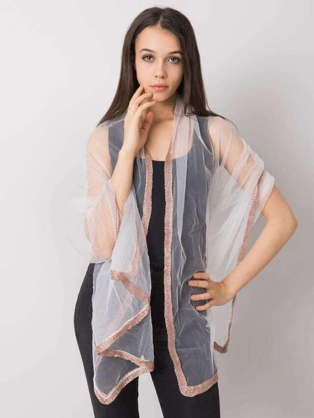 Dámský bílý šátek s ozdobnou povrchovou úpravou - jedna velikost