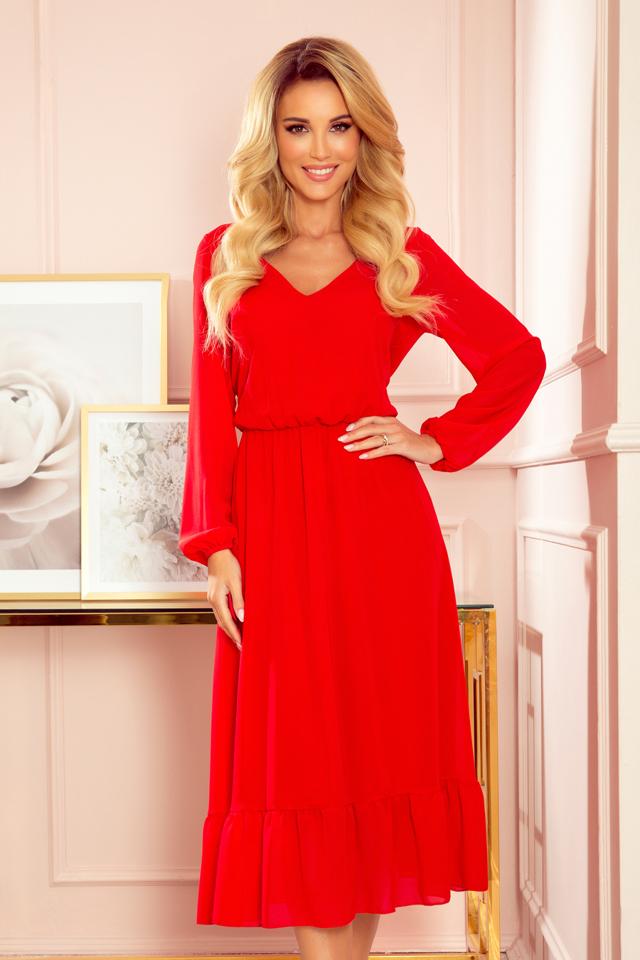 Červené dámské šifonové midi šaty s volánkem a dekoltem 304-3 - S