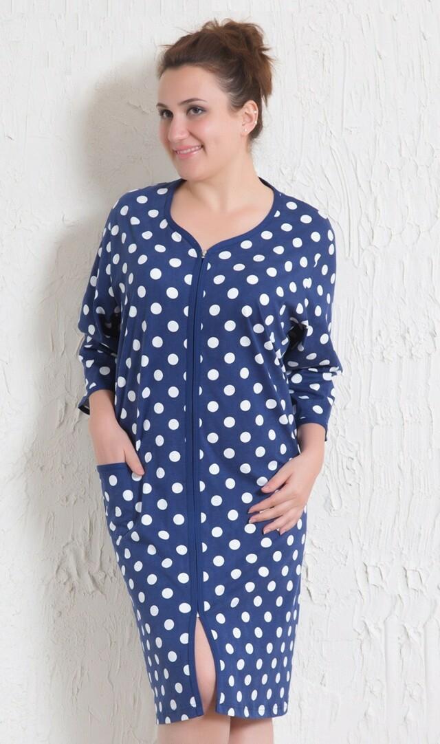 Dámské domácí šaty s tříčtvrtečním rukávem Puntík - tmavě modrá 1XL