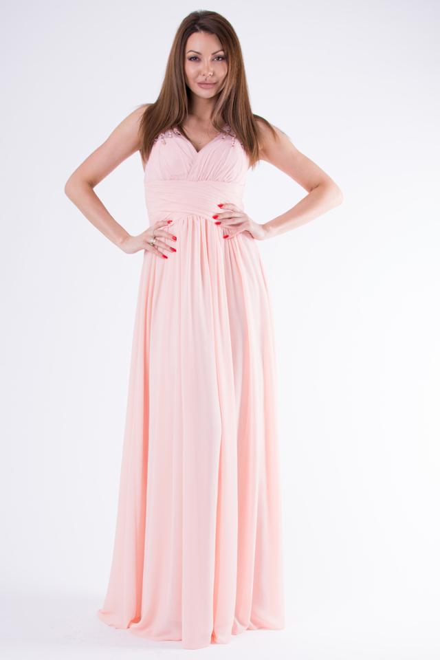 00b39ac239e7 Pudrově růžové šaty EVA LOLA SUKIENKA 58003-2 - L