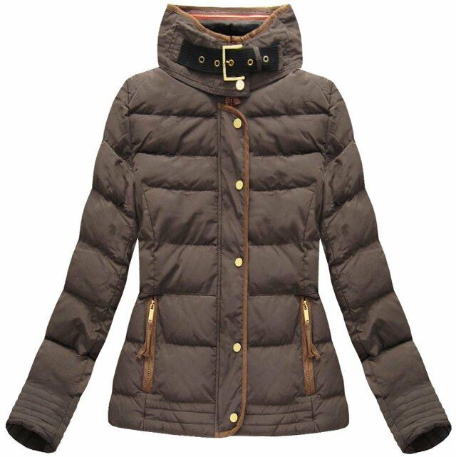 Hnědá dámská zimní bunda s kapucí (WZ6636)